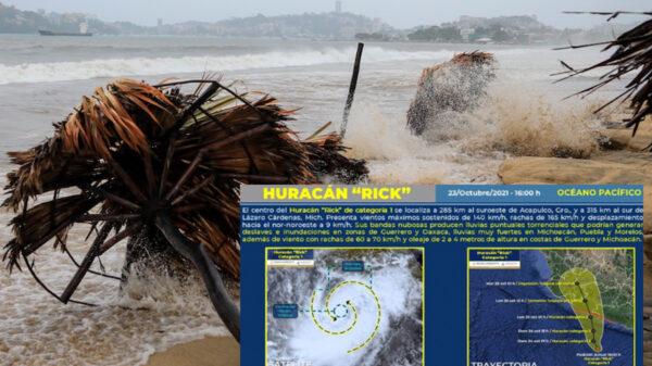 Impactará Rick como categoría tres a Michoacán y Guerrero este domingo