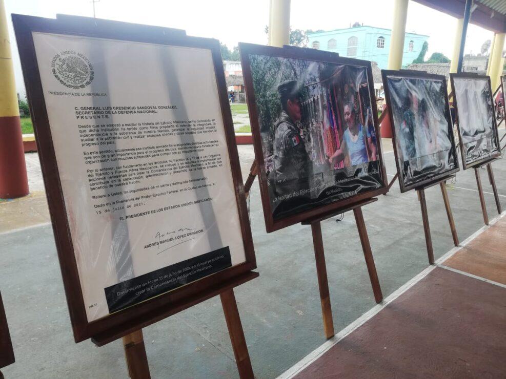 Realizan en Kantunilkín exposición fotográfica el Ejército Mexicano; en el primer día hubo buena participación con los protocolos sanitarios.