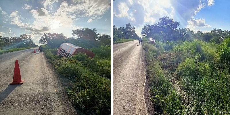 Camión de carga se sale de la carretera en la vía Cancún-Mérida.
