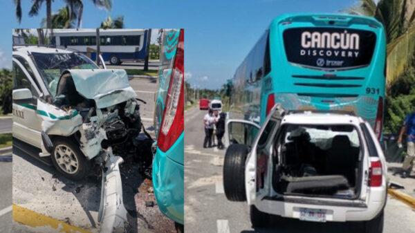 Taxista choca contra autobús en la zona hotelera de Cancún